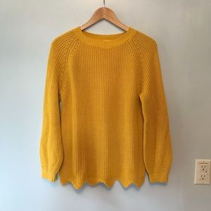 Zara Marigold Yellow Scalloped Sweater